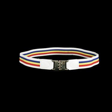 Vintage 1970's Rainbow Cinch Belt - White - Multi. Color - Gay Pride Parade - Elastic - Small / Medium - 26 27 28 29 30 waist by zipperfactory