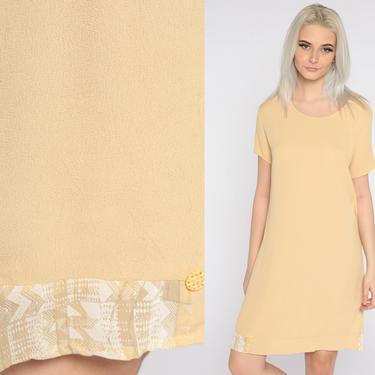 Yellow Mini Dress Plain Sheath Dress 90s Zig Zag Short Sleeve  Vintage 1990s Simple Plain Shift Minimalist Normcore Oversize Small S by ShopExile