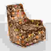 Vintage orange and brown floral lounge chair