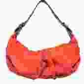 Dolce & Gabbana - Orange Textured Leather Shoulder Bag w/ Reptile Embossed Trim
