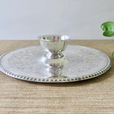 Vintage Platter Dish - Silver Plate Dip Platter - Round Silver Plate with Dip Bowl - Fruit Platter - Chip and Dip Platter - Shrimp Platter by SoulfulVintage
