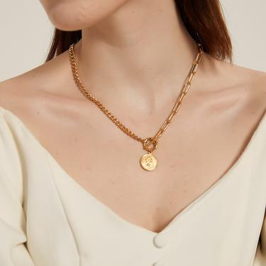 makenzie gold coin pendant chain necklace, coin chain necklace, gold chain necklace, coin necklace, medallion necklace, layering necklace by MelangeBlancDesigns