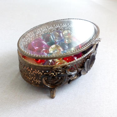 Victorian filigree jewelry box Oval with beveled glass lid trinket box Collectible Engagement gift Vanity decor collection by BelleCosine