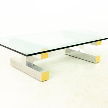 Paul Evans Style Cityscape Brass and Polished Aluminum Glass Coffee Table by ModernHill