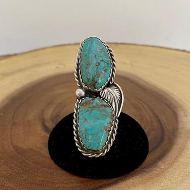 DOUBLE TEAM Vintage Silver & Turquoise Ring | 1970s Large Sterling Double Decker Ring | Western Native American Navajo Jewelry | Sz 7 3/4 by lovestreetsf