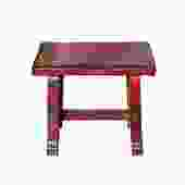 Oriental Zen Ming Style Wood Distressed Red Lacquer Bench cs5425S