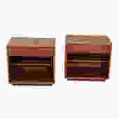 Pair Mid Century Walnut Nightstands w\/ Adjustable Shelves