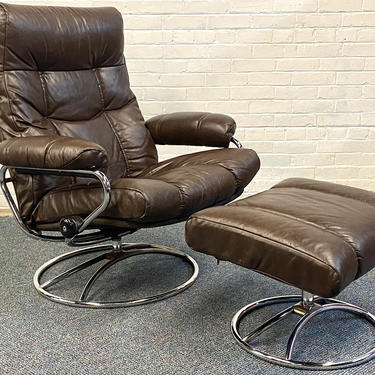 Chocolate Brown Leather Ekornes Lounge Chair and Ottoman by mixedmodern1