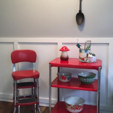 Set Kitchen Stool and Cart Cosco Stool Red, serving cart vintage rolling cart instant collection painted  coordinated kitchen stool by VintageCoreReStore