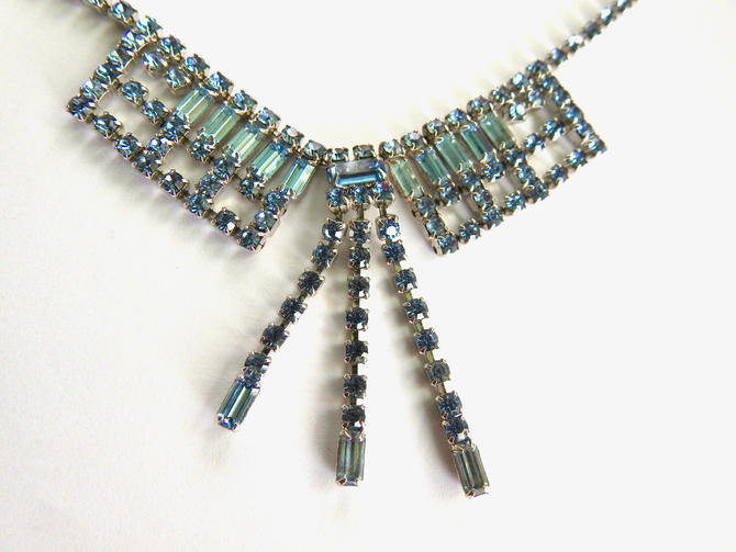 1960s Modernist Baby Blue Rhinestone Necklace by LegendaryBeast