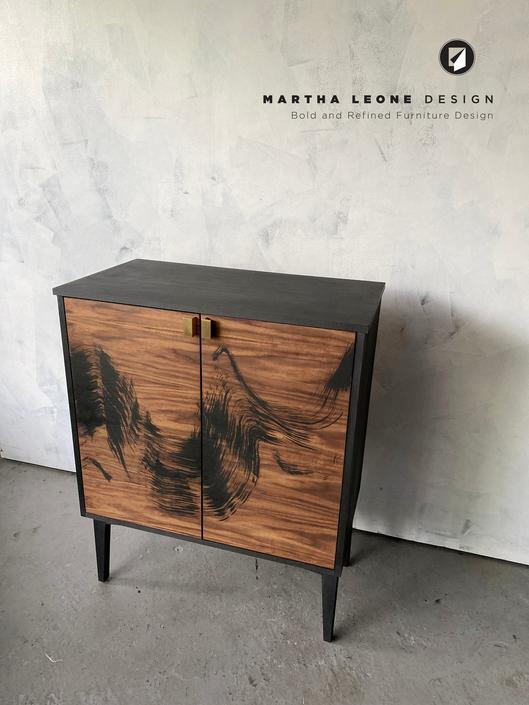 Preview of a Hand Painted Walnut Bar by MarthaLeoneDesign
