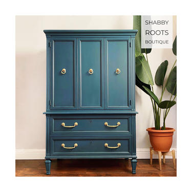 NEW! Beautiful Blue Dresser tall chest of drawers vintage armoire / wardrobe closet - San Francisco CA by ShabbyRootsBoutique