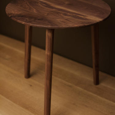 Round Midcentury Side Table by BevelDownDesign