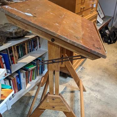 Adjustable oak drafting table 31