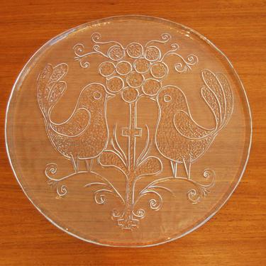 Mid Century Modern Kosta Boda Glass Bird Plate Made in Sweden by MidCentury55