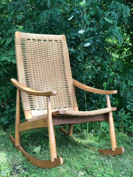 Mid Century Roped Rocker Chair -Mid Century Hans Wegner Style Rocker - Danish Modern Hans Wegner Style Rocker Rocking Chair Hvid by DareToBeVintage
