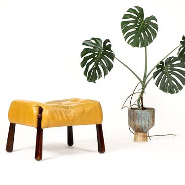 Mid Century Brazilian Modernist Ottoman / Footstool — Percival Lafer —  Model MP-81 — Leather + Rosewood by atomicthreshold