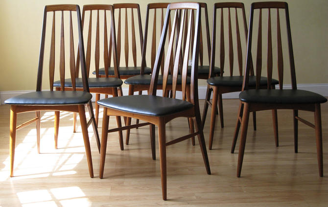 Set of Eight Eva Chairs by Neils Koefoed in Teak and Afrormosia by ASISisNOTgoodENOUGH