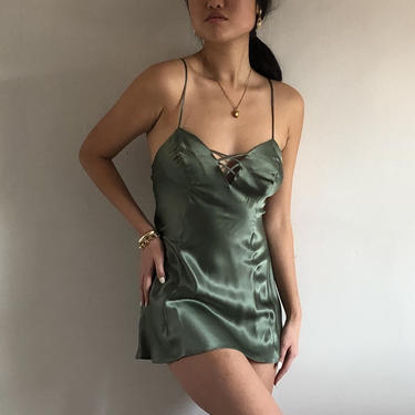 80s silk charmeuse slip dress / vintage moss green silk charmeuse sweetheart criss cross backless slip dress VS gold label   XS S by RecapVintageStudio