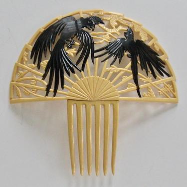 Art Deco Figural Parrots & Vines Hair Comb, Celluloid Comb Bird Motif, Art Deco Cockatoo Comb , Hair Ornament Hair Decoration by CombAgain