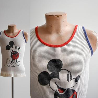 1970s Ribbed Waffle Mickey Mouse Tank Top by milkandice