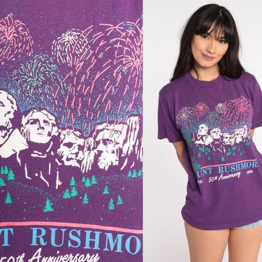 Mount Rushmore Shirt 1991 SOUTH DAKOTA Graphic Jerzees TShirt Black Hills intage Graphic Print Travel Tee Souvenir 90s Purple Small Medium by ShopExile