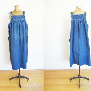Vintage Denim Pinafore Dress M - Blue Jean Overall Dress - Denim Midi Dress - Sleeveless - 80s Clothing - Vintage Lee - Square Neck by MILKTEETHS