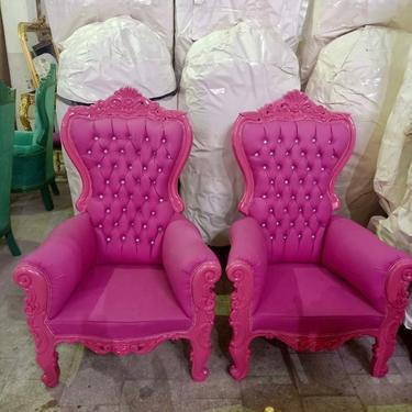 Pink Children Throne Chair Pink Velvet *2 LEFT* French Children Chair Throne Pink Velvet Tufted Pink Throne Chair Rococo Vintage Chair by SittinPrettyByMyleen