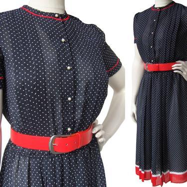 Vintage 80s Chiffon Secretary Dress Black White Polka Dot Red Belt & Trim M by MetroRetroVintage