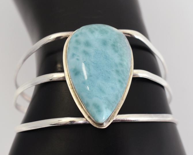 Big 80's larimar 925 silver handcrafted boho beach cuff, simple sterling cloudy blue stone teardrop asymmetrical hippie surfer bracelet by BetseysBeauties