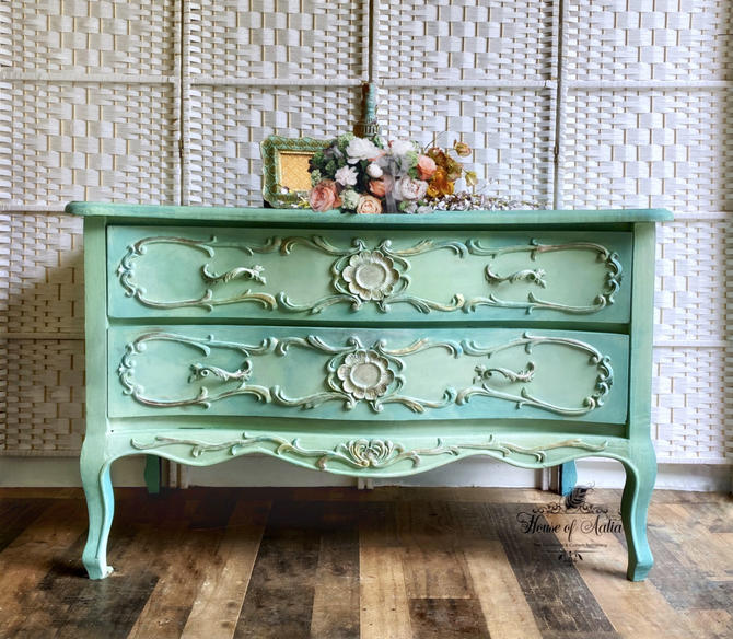 Mint Green Blue French Provincial Dresser. Vintage French Provincial Sideboard Buffet. Gold, Pink, Blue Upscale Credenza Server. by HouseofAalia