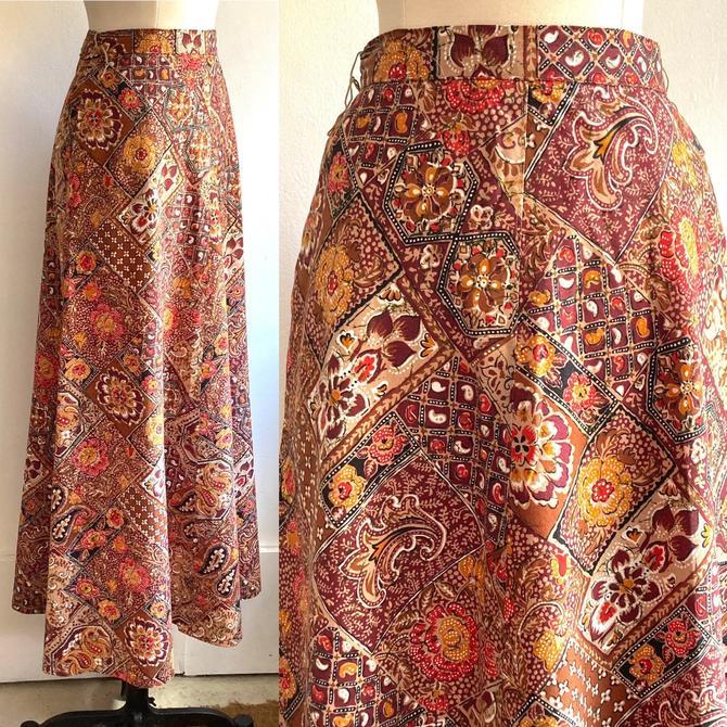 Vintage 70's PATCHWORK PAISLEY Cotton Print Maxi Skirt / POCKETS / Evan Picone by CharmVintageBoutique