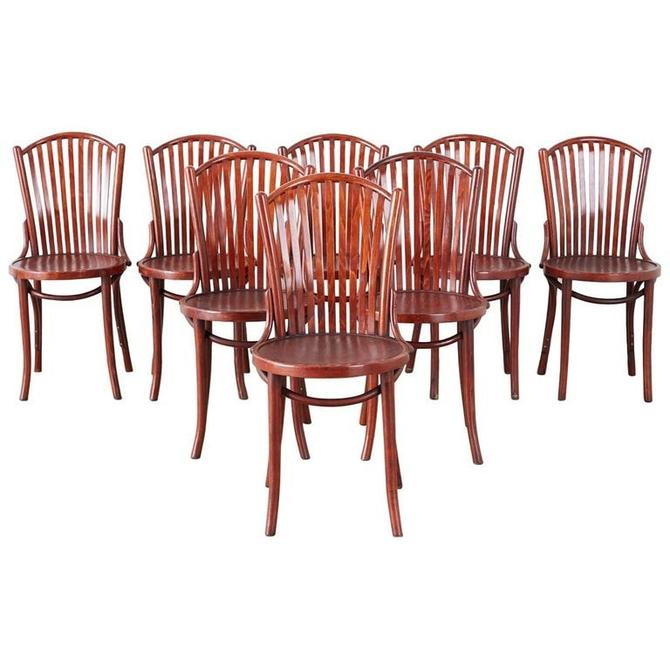 Set of Eight Thonet Style Bentwood Cafe Bistro Chairs by ErinLaneEstate