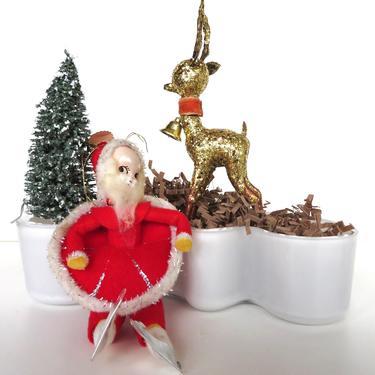 Vintage Santa and Reindeer Christmas Decor Set, Gold Glitter Plastic Reindeer and Spun Cotton Santa Figurine, Vintage Holiday Decor by HerVintageCrush