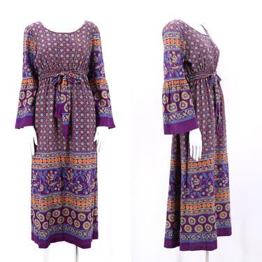 70s India cotton print medieval dress L  / vintage 1970s peasant prairie boho dress by ritualvintage