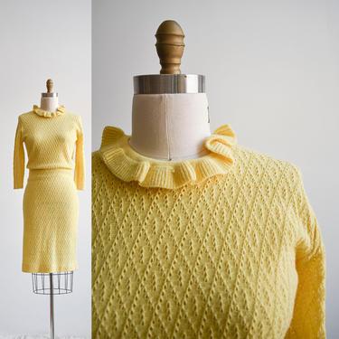Vintage Yellow Knit 2pc Skirt Set by milkandice