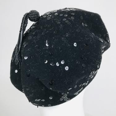Galanos Kangol Black Sequined Wool with Beaded Tassel Beret 1960s