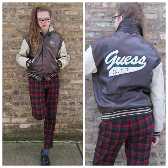 1990s Guess Jacket / 90s Brown Leather Bomber / Two Toned Leather Jacket Brown and Cream Aviator Zip Up Jacket / Unisex / Medium zQvjwkdAZM