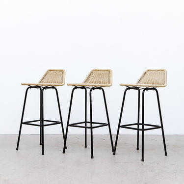 Set of 3 Charlotte Perriand Style Woven Rope Bar Stools