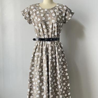 1990s Dress Floral Cotton Belted S by dejavintageboutique