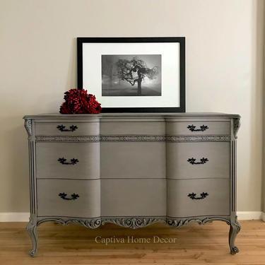 SOLD -1930's French Provincial Grey Dresser, original handles, black accents, drybrushed details, lightly distressed Bureau, bedroom by CaptivaHomeDecor