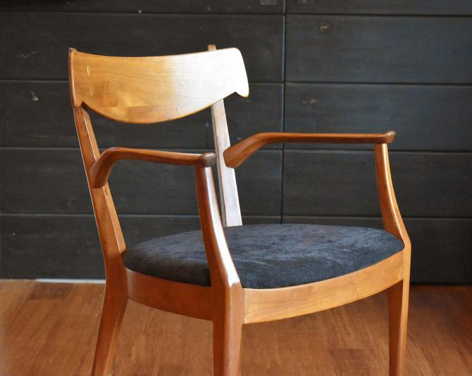 Single Drexel Declaration mid-century walnut captains dining chair by MidCenturyClever