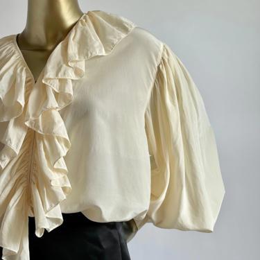 Beautiful Silk Flowy Oversized Blouse Fits M - XL by BeggarsBanquet