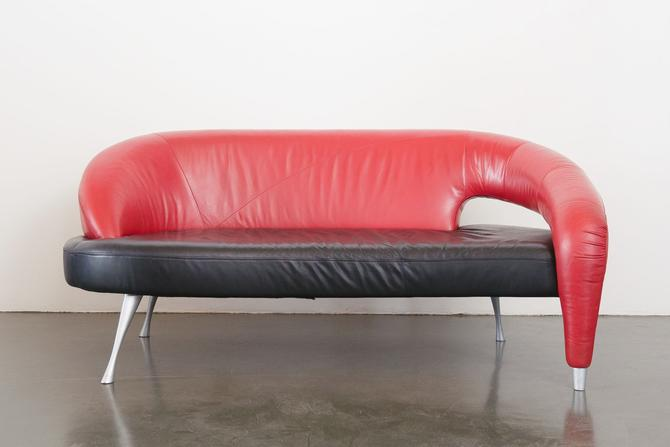 Post Modern Italian Leather Sofa  / Couch / Loveseat by HomesteadSeattle