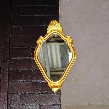 "Vintage Handmade Italian Florentine Gilt Mini Mirror, Small Ornate Wood Carved Gold Leaf/Scroll Wall Mirror, Accent Mirror, 16"" H x 9.5"" W by shopGoodsVintage"
