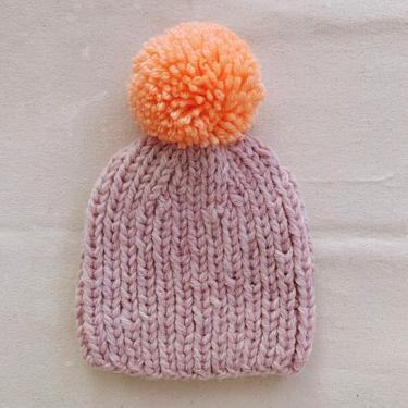 Little Minnows Hand Knit Baby Beanie Hat // Heather Blush Pink with Neon Pompom by mammothandminnow