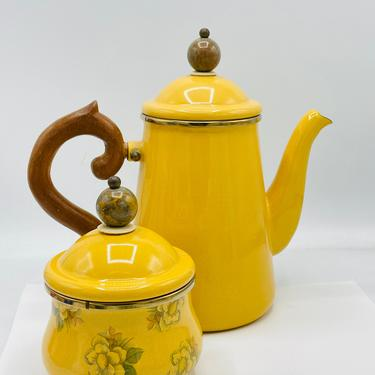 Mackenzie Childs Tea Pot and Sugar bowl Mustard Yellow- Great Condition- 1983 by JoAnntiques