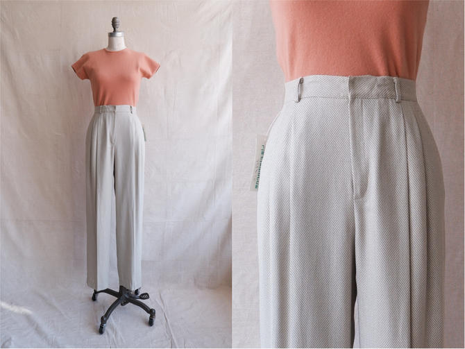 Vintage 80s Woven Trousers/ 1980s High Waisted Green White Pants/ Linen Feel/ Size 26 by bottleofbread