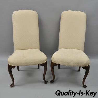 Pair Of Vtg Drexel Heritage Queen Anne Style Side Chairs Upholstered Cherry Wood
