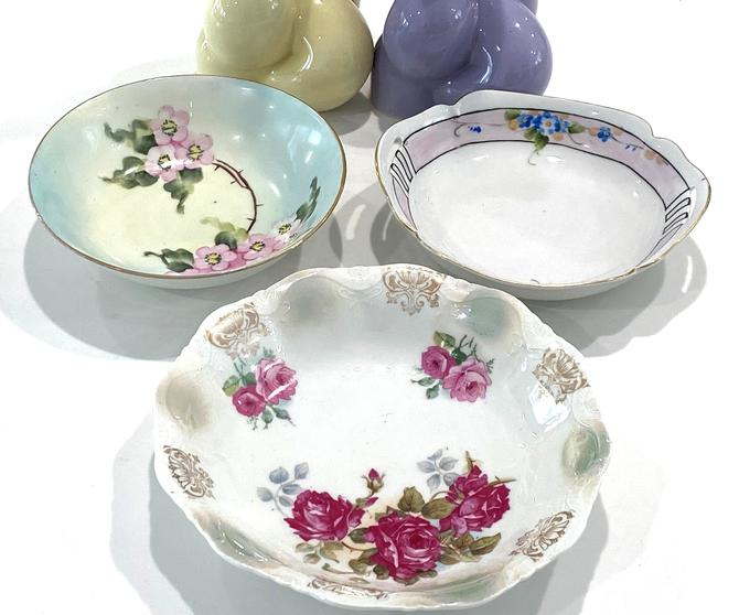 3 Vintage Hand Painted Bowls Nippon Weimar and ACS Bavaria Floral Serving Dishes by DressingVintage